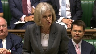Home Secretary Theresa May addressing the Commons this afternoon