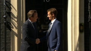 David Cameron greeted Andy Murray as he arrived at Number 10