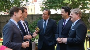 Nick Clegg, David Cameron and Ed Miliband in the Downing Street garden