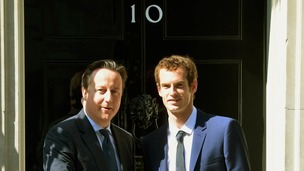 David Cameron greets Andy Murray outside 10 Downing Street