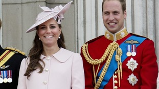 Pregnant Catherine, Duchess of Cambridge, and Prince William, Duke of Cambridge seen on the balcony of Buckingham Palace on June 15.