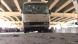 Police van damaged in Damascus bomb