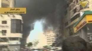 The aftermath of the explosion in southern Beirut.