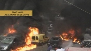 The scene of the car bomb explosion in southern Beirut.