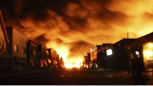 The fire from the train explosion seen in Lac Megantic, Quebec.