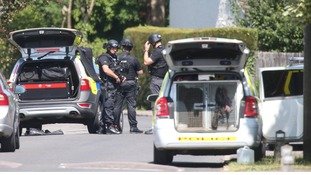 A general view of police activity in Kidlington, Oxfordshire.