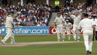 Matthew Hoggard celebrates the wicket of Michael Clarke in 2005