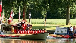 Narrowboat passes Gloriana on the Thames near Windsor