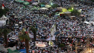 Supporters of ousted president Mohamed Morsi are gathered at Rabaa Adawiya square in Cairo.