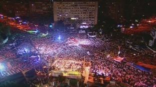 Aerial view of the streets surrounding Cairo's Rabaa Al Adaweya mosque