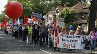 Demonstrators march from Trafford General Hospital in Urmston, Manchester to Golden Hill Park last week