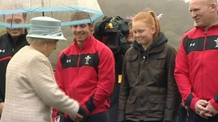 The Queen talking to Leigh Halfpenny