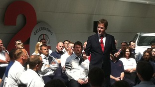 Nick Clegg at the Toyota plant at Burnaston in Derbyshire.