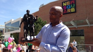 Cyrille Regis opening New Square shopping centre.