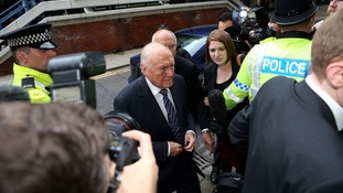 Veteran BBC broadcaster Stuart Hall arriving at Preston Crown Court in June.