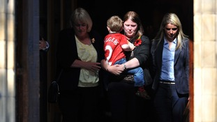 The family of Drummer Lee Rigby leave the church.