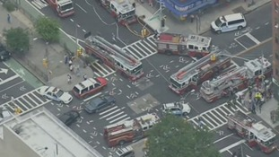 Fire trucks at the scene of the reported explosion