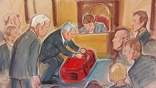 An artist's impression of analysis of the holdall Gareth Williams was found in at his inquest