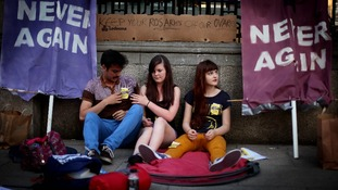 Members of the pro choice movement group held a 24 hour protest outside Leinster House in Dublin ahead of the vote