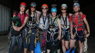 The six women climbers who scaled Europe's tallest building yesterday, to protest against drilling in the Arctic.