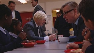 London Mayor Boris Johnson and Education Secretary Michael Gove join children for a bite to eat.