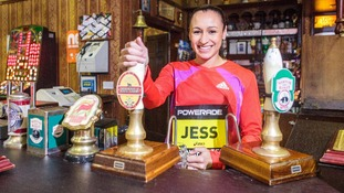 Jessica Ennis behind the bar at the Rovers Return in Coronation Street.
