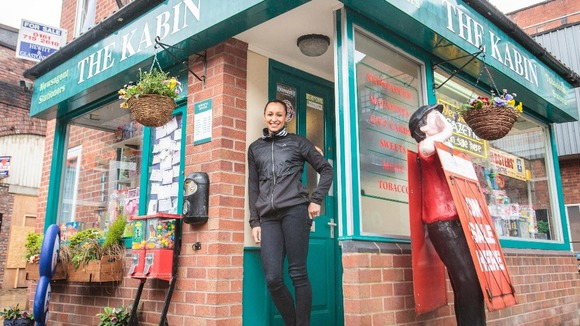 Jessica Ennis at The Kabin in Coronation Street.