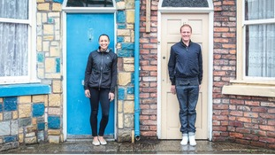 Jessica Ennis with Antony Cotton on the set of the ITV1 soap Coronation Street.