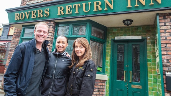 Jessica Ennis (centre) with Antony Cotton and Samia Ghadie on the set of the ITV1 soap Coronation Street.
