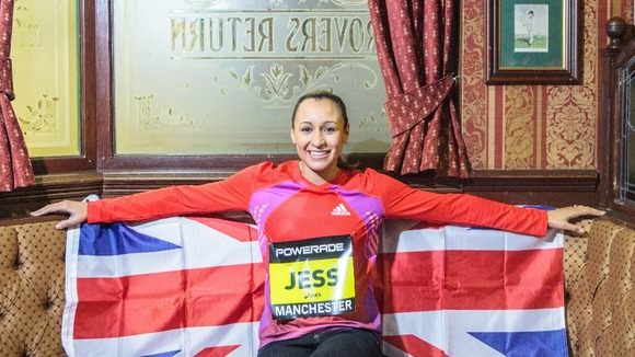 Jessica Ennis inside the Rovers Return.