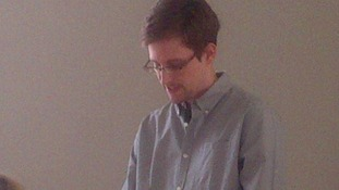 Edward Snowden was today seen in public for the first time since making spying claims