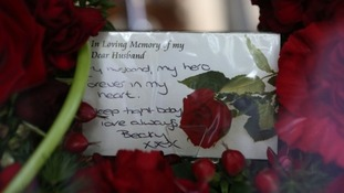Rebecca Rigby, the wife of murdered soldier Fusilier Lee Rigby, writes 'Forever in my heart'.