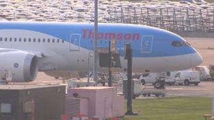 The Thomson Dreamliner at Manchester airport.