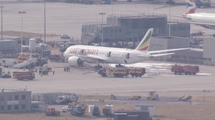 The Ethiopian Airlines plane at Heathrow.