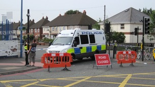 A police cordon in Tipton.