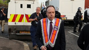 Democratic Unionist Party MP Nigel Dodds, prior to being injured after loyalists clashed police in North Belfast.