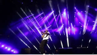 Jay-Z performs in front of thousands of people in the newly reopened Queen Elizabeth Olympic Park in Stratford.