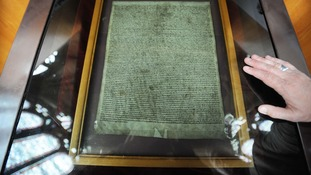 The Magna Carta displayed in Salisbury Cathedral.