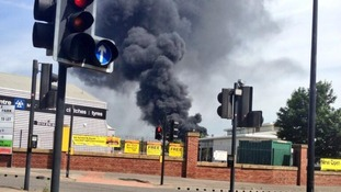 Plumes of smoke reach into the skies over Sheffield