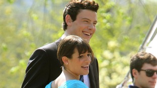 "Actors Lea Michele and Cory Monteith filming the TV series ""Glee"" at the Bow Bridge in Central Park, New York"