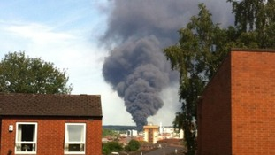 A huge plume of smoke can be seen across Sheffield