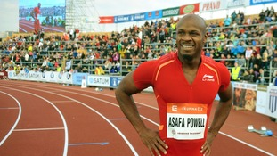 Asafa Powell of Jamaica smiles after he won 100 m dash at the IAAF World Challenge athletics meeting in Ostrava, Czech Republic