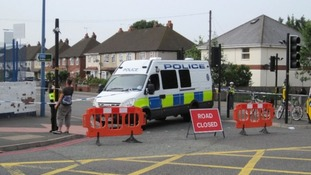 Police cordon in Tipton on Friday after the blast near the local mosque