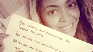 Beyoncé has posted support for female rights campaigner Malala Yousafzai