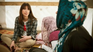 Samantha Cameron with Syrian refugees in Lebanon.