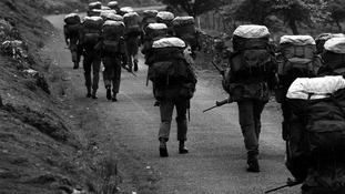 SAS recruits taking part in an endurance march in the Brecon Beacons in 1981