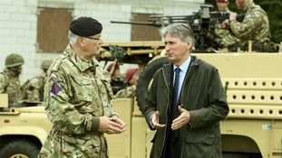Defence Secretary Philip Hammond with Chief of the General Staff Sir Peter Wall in a recent visit to Essex.