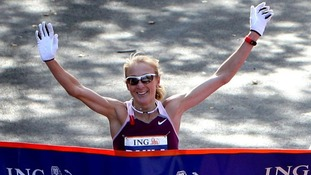 Paula Radcliffe crosses the finish line to win the New York Marathon in November 2008.