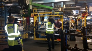 ITV Meridian crews film in the Ford factory in Southampton