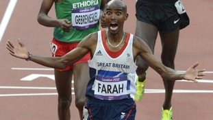Mo Farah pictured winning a gold medal in the 5000m men's race at the London 2012 Games.
